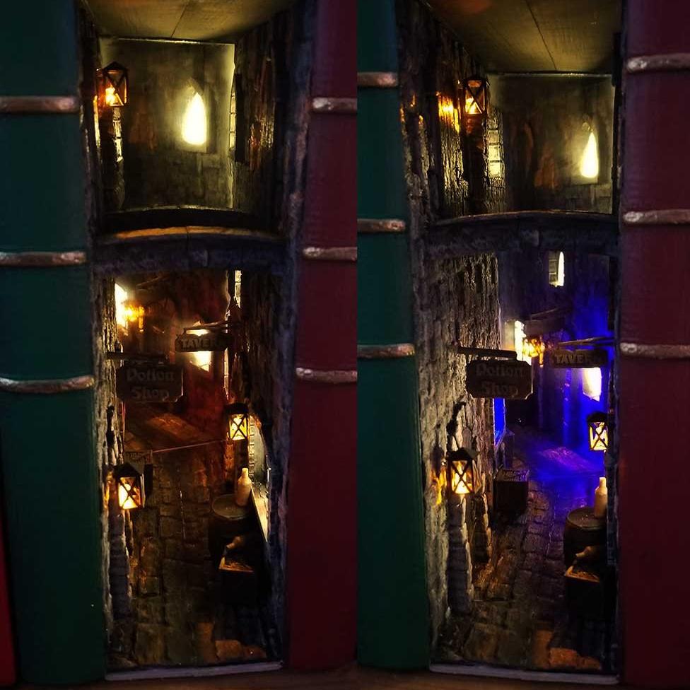 """El """"rincón del libro"""" de Rodney es un callejón de fantasía, con una taberna y una tienda de pociones."""
