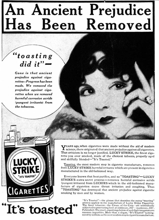 An advert for Lucky Strike cigarettes