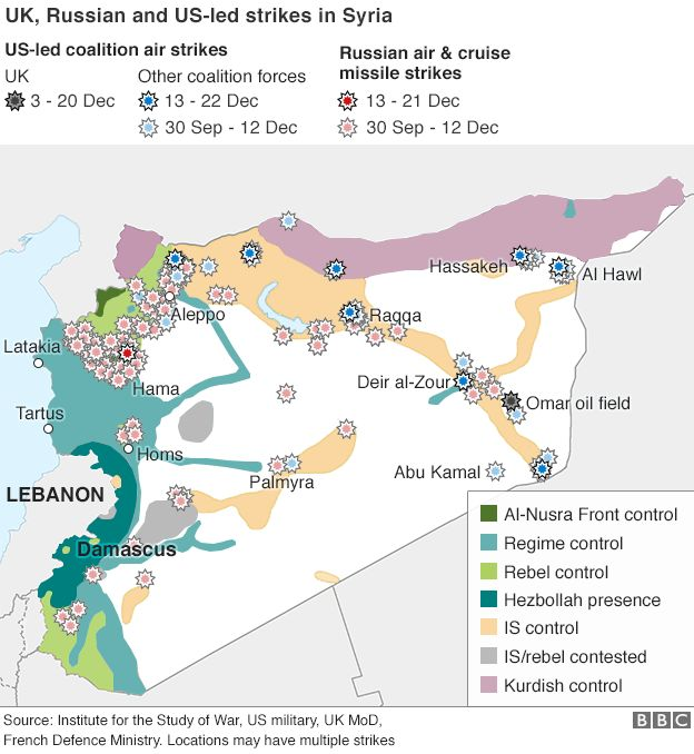 A map of Syria shows UK, Russian, and US-led air strikes