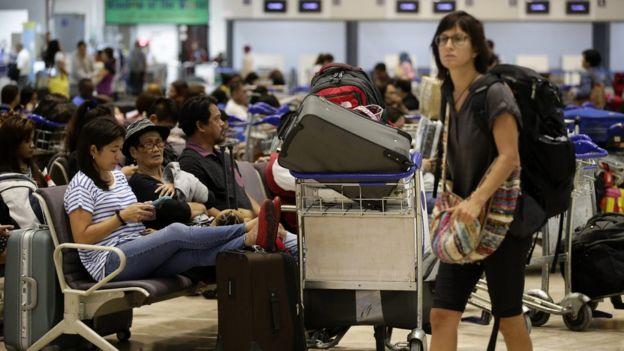 Passengers stranded at Manila airport. 18 Oct 2015