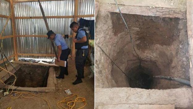 Imagen del túnel descubierto junto a la cárcel.