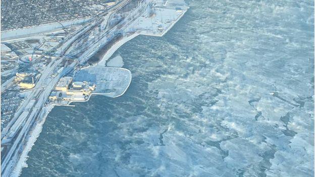 دریای میشیگان صبح چهارشنبه از نمای پهپادها
