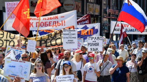 Protest in Riga over the Latvian language policy in schools