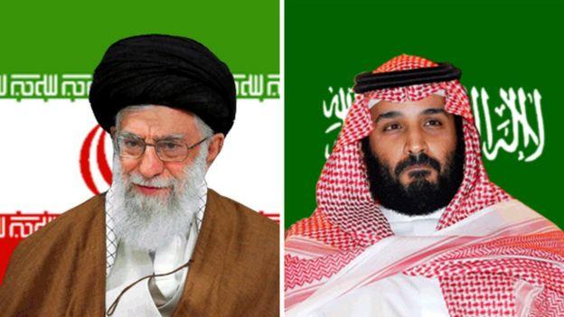 Kiongozi wa kidini nchini Iran Ayatollah Ali Khamenei (kushoto) na mwanamfalme wa Saudia Mohammed bin Salman