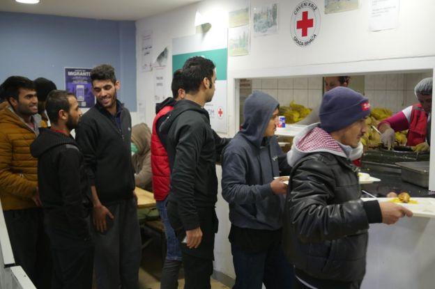 Migrants at the Bira reception centre