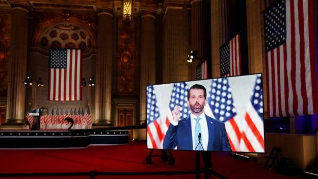 共和黨全國代表大會期間,播放了小特朗普預先錄製的演說片段。