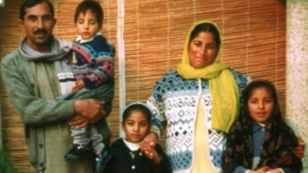 (L-R) Rab Nawaz Khan, father of the five children who died in the fire in Huddersfield, with Ateeqa Nawaz, Rabia Batool, Nafeesa Aziz (the children's mother) and Tayyaba Batool