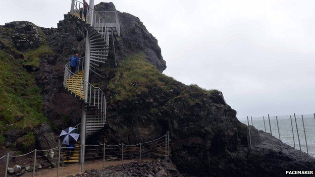 Stairs over cliff face along Gobbins coastal path