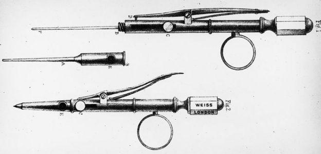 Primera aguja hipodérmica, inventada por el físico irlandés Dr. Francis Rynd hacia 1845