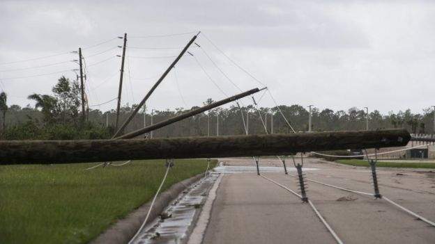 Downed power lines in Bonita Springs, Florida, 11 September
