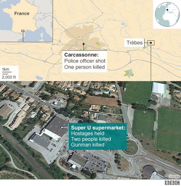 Bản đồ cho thấy vị trí của siêu thị Super U