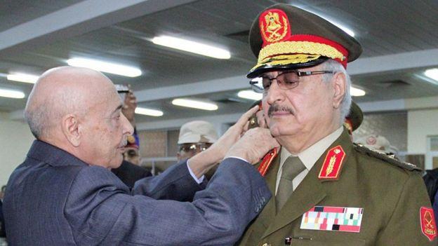 Gen Haftar at swearing-in ceremony in 2015