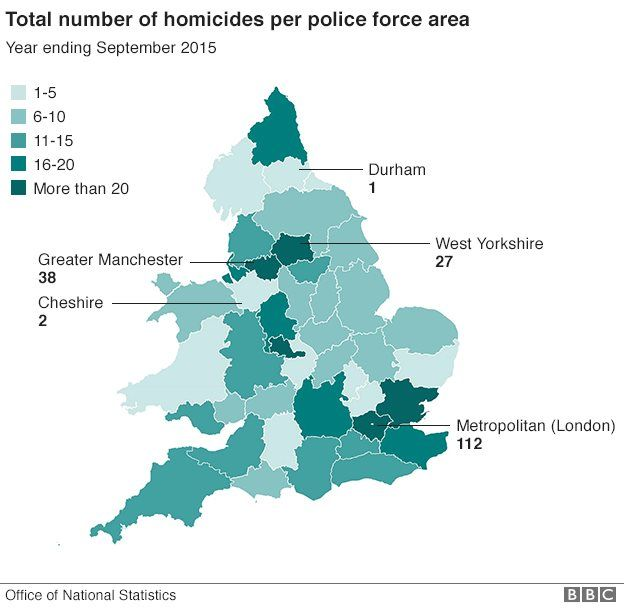 Map Of England 2015.Murder Rate Rises After Spate Of Killings In June 2015 Bbc News