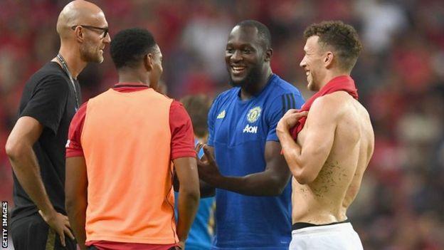 Romelu Lukaku at Manchester United's match against Inter Milan
