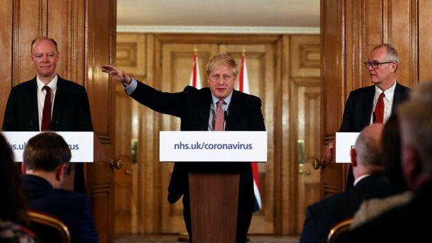 Boris Johnson, Sir Patrick Vallance and Chris Whitty