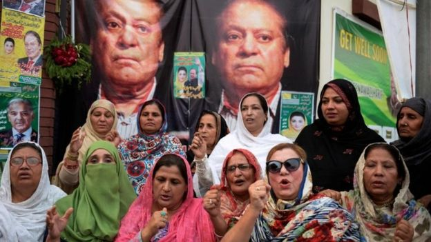 Supporters pray outside a hospital where Sharif was being treated in October