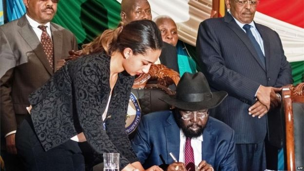South Sudan President Salva Kiir Signs Peace Deal Bbc News