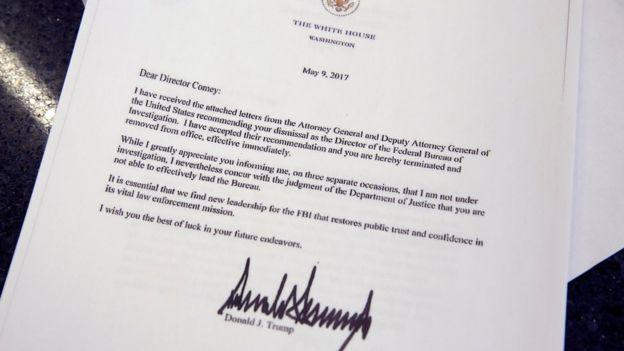 Trump'ın Comey'i görevden aldığını bildiren mektup