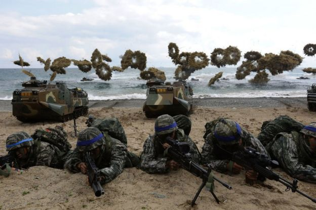 South Korean marines participate in landing operation referred to as Foal Eagle joint military exercise with US troops Pohang seashore on 2 April 2017 in Pohang, South Korea.
