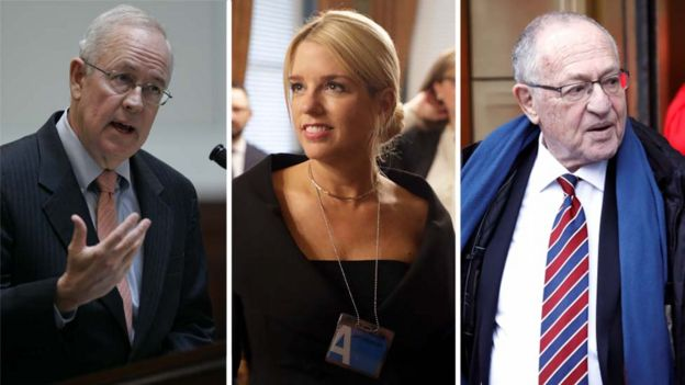 Ken Starr, Pam Bondi y Alan Dershowitz