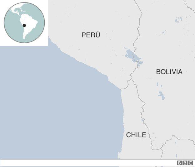 Mapa de la frontera entre Perú, Bolivia y Chile