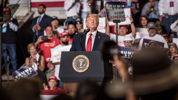 President Trump at his 16 September rally in New Mexico