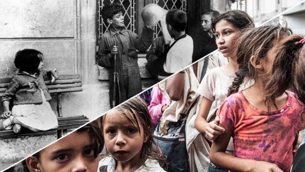 Комбо фотографий детей времен гражданской войны в Испании и в современном Каракасе