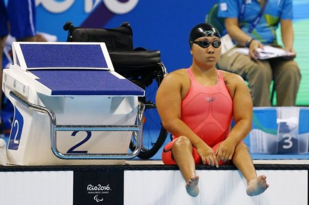 Singapore's Theresa Goh before her 200m freestyle heats (8 Sept 2016)