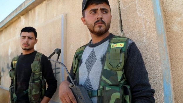SDF members in Ras al-Ain, 10 Oct