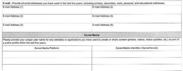 فرم شبکههای اجتماعی برای متقاضیان ویزای آمریکا