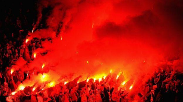 Aficionados del Galatasaray.