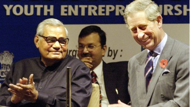 Indian Prime Minister Atal Behari Vajpayee (L) shares a joke with Britain's Prince Charles during an Asian Summit on Youth Enterpreneurship and Employment conference at India's Parliament in New Delhi, 2003