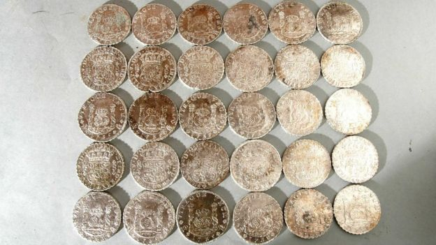 Spanish coins found in the wreck