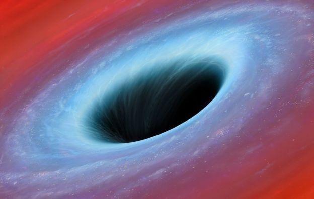(ภาพจากฝีมือศิลปิน) หลุมดำมวลยิ่งยวดที่มีสนามความโน้มถ่วงพลังมหาศาล เป็นเครื่องมือทดสอบทฤษฎีของไอน์สไตน์ได้เป็นอย่างดี