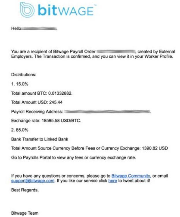Bitwage receipt