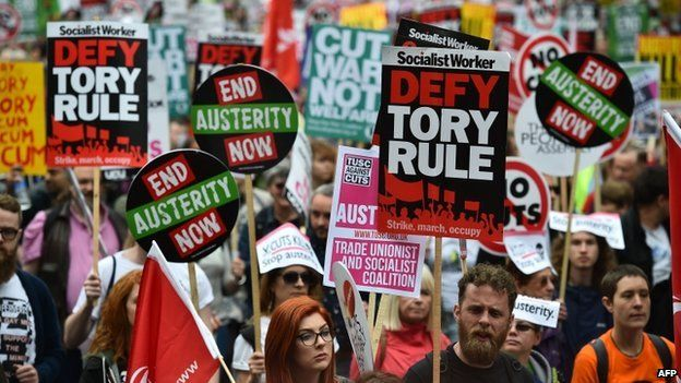 Anti-austerity protesters march in London