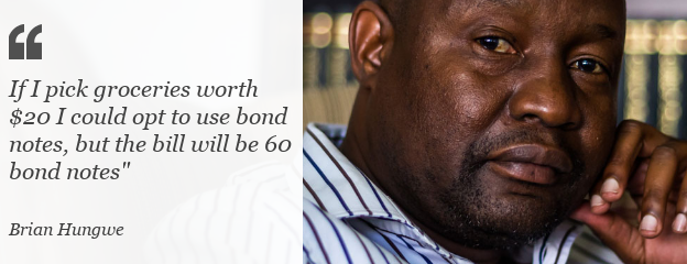 Quote: If I pick groceries worth $20 I could opt to use bond notes, but the bill will be 60 bond notes