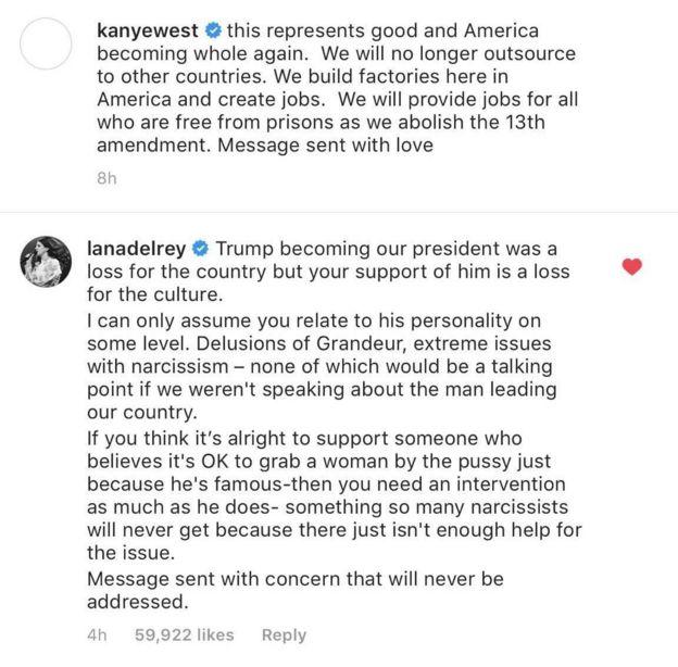 Lana Del Rey's response to Kanye West
