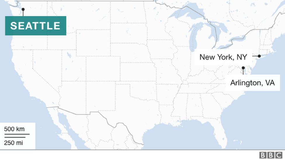 Mapa con las sedes de Amazon en EE.UU.