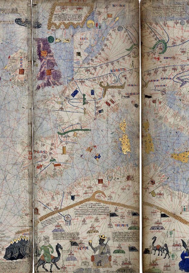 Mapa Cresco, que cobria o mundo conhecido pelos europeus no século 14, mostra o reino do Mali