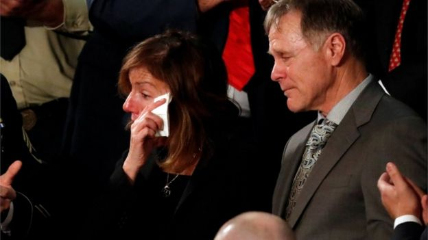 "American student Otto Warmbier""s parents Fred and Cindy Warmbier cry as U.S. President Donald Trump talks about the death of their son after his arrest in North Korea during the State of the Union address"