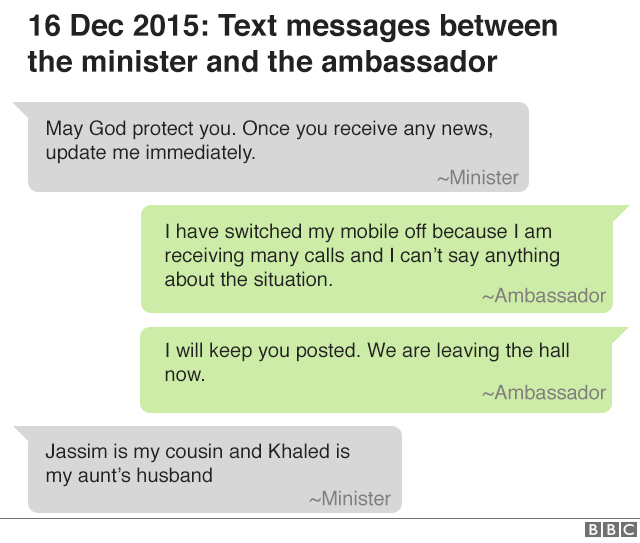 16 December 2015: text messages between the minister and ambassador