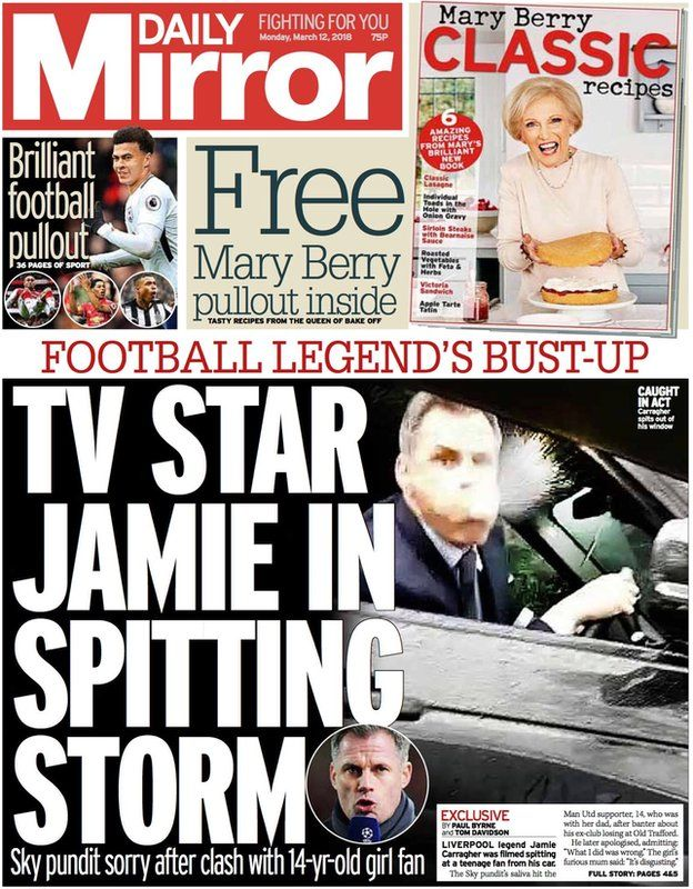 The front page of the Daily Mirror