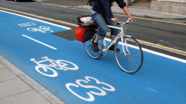 Blue cycle Superhighways in London