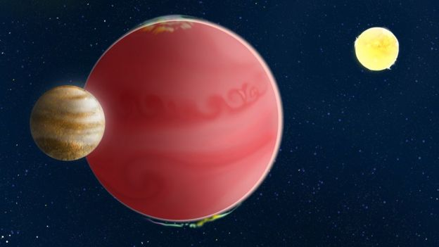Artwork of a red gas giant with a small moon orbiting