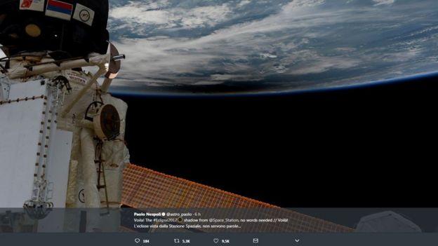 Vista del eclipse desde el espacio.