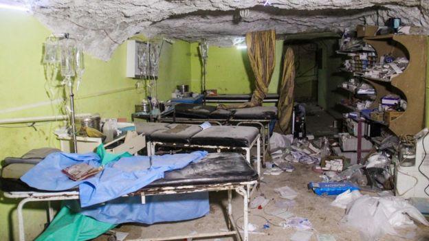 Una sala del hospital en Khan Sheikhun