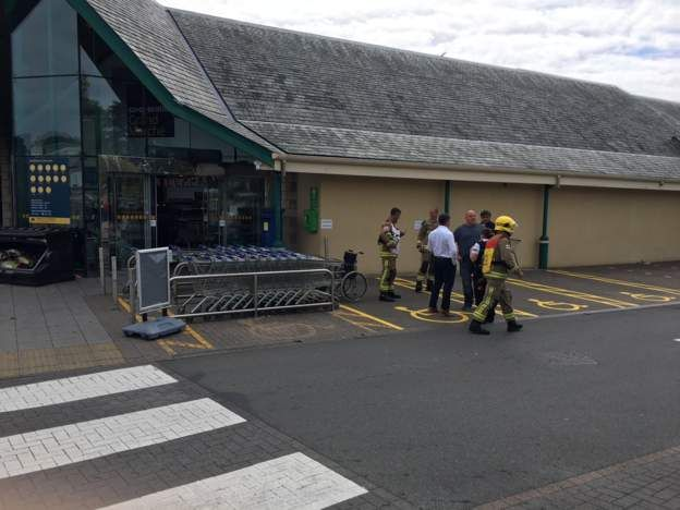 People evacuated from the store
