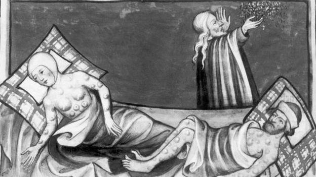 Ilustração sobre a peste bubônica