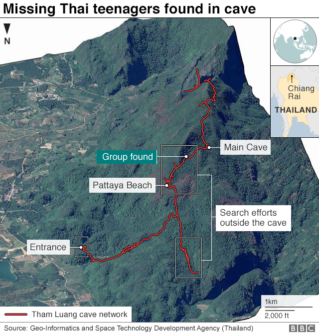 Thailand Cave Rescue Boys Found Alive After Nine Days Bbc News